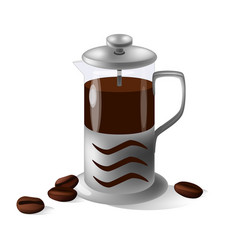 french press isolated on the white vector image