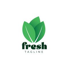 Fresh green leaf vegetable logo design template vector