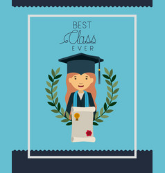 graduation card with woman character vector image