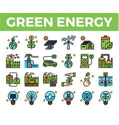 green energy and ecology filled outline icon vector image