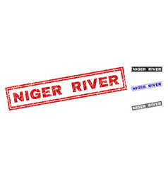 Grunge niger river textured rectangle watermarks vector