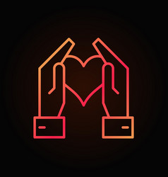 hands holding heart red bright outline icon vector image