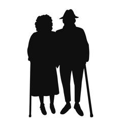Happy couple senior people walking vector
