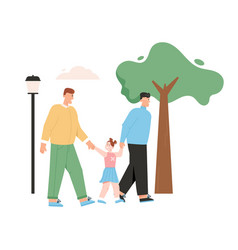 Happy male lgbt family with kid gay couple vector