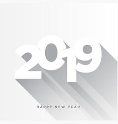 Happy new year 2019 card theme gray long shadow vector