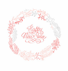 happy new year rose wreath sketch composition vector image