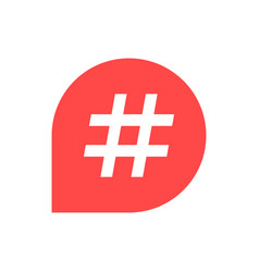 Hashtag icon in red bubble vector