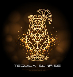 Hipster polygonal cocktail tequila sunrise neon vector