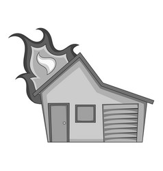 house on fire icon monochrome vector image