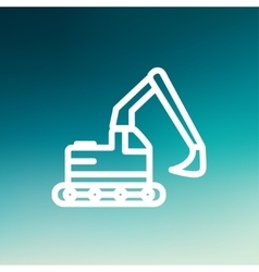 Hydraulic excavator truck thin line icon vector