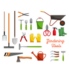 Icons of farm gardening tools vector