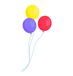 image of three colorful balloons isolated on white vector image