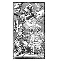 Jesus christ virgin mary and anna prophetess vector