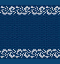 Knitted blue christmas floral ornament winter vector