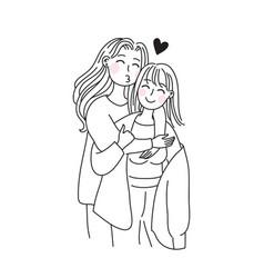 Lgbt lesbian family concept kiss and hug sticker vector