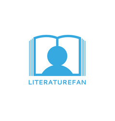 literature fan logo silhouette a man reading a vector image