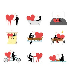 Lovers set of silhouettes Man and heart in movie vector