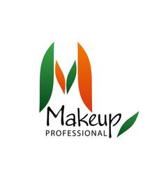 M letter icon for makeup beauty salon vector