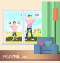 man and child standing training sport outdoor vector image