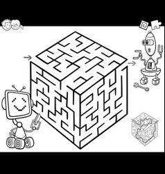 Maze with robots for coloring vector