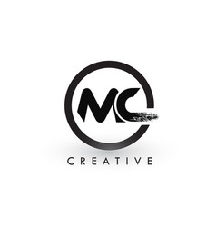 Mc brush letter logo design creative brushed vector