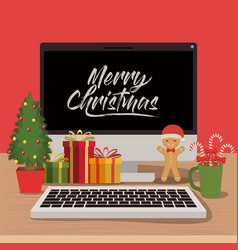 Merry christmas poster with desktop computer scene vector