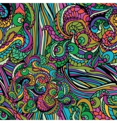 multicolor abstract ethnic swirl seamless pattern vector image