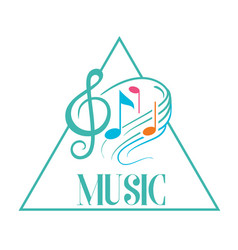 music triangle frame music note background vector image