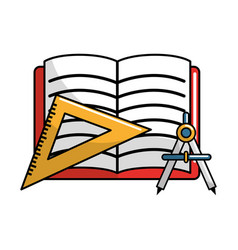 Open notebook with study tools icon vector