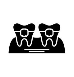 Orthodontist therapy black icon concept vector