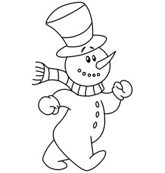 Outlined snowman walking vector
