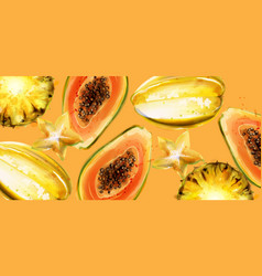 papaya fruits watercolor summer fresh vector image