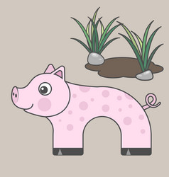 pig cartoon style art for kids vector image