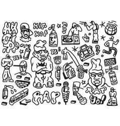 Rap hip hop - doodles set vector