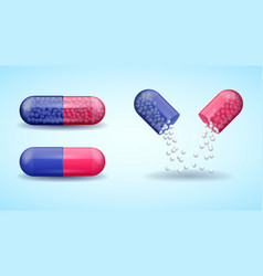 Red and blue full medical pill capsule vector