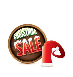 red santa hat with special sale sign tag vector image