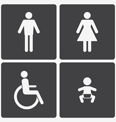 Restroom icons lady man child and disability vector
