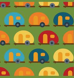 retro camper van seamless pattern caravans vector image