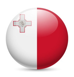 Round glossy icon of malta vector image