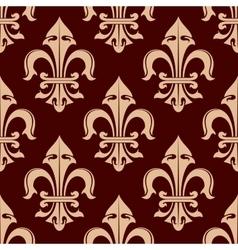 Royal fleur-de-lis brown seamless pattern vector