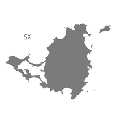 Saint martin map grey vector