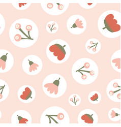 scattered floral elements in polka dots seamless vector image
