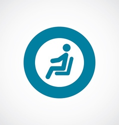 Seating man icon bold blue circle border vector