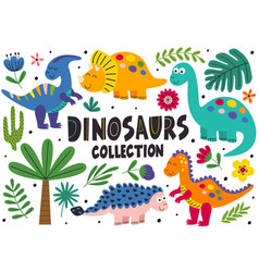 Set isolated cute dinosaurs part 2 vector