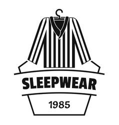 Sleepwear logo simple black style vector