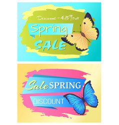 spring sale poster discount set colorful butterfly vector image