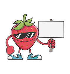 Strawberry character with sunglasses holding sign vector