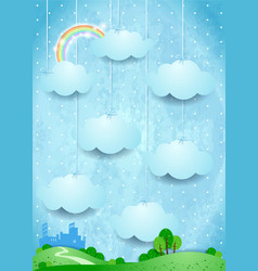 Surreal landscape with hanging clouds and small vector