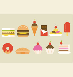 sweets and junk food icon vector image