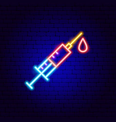 Syringe vaccine neon sign vector